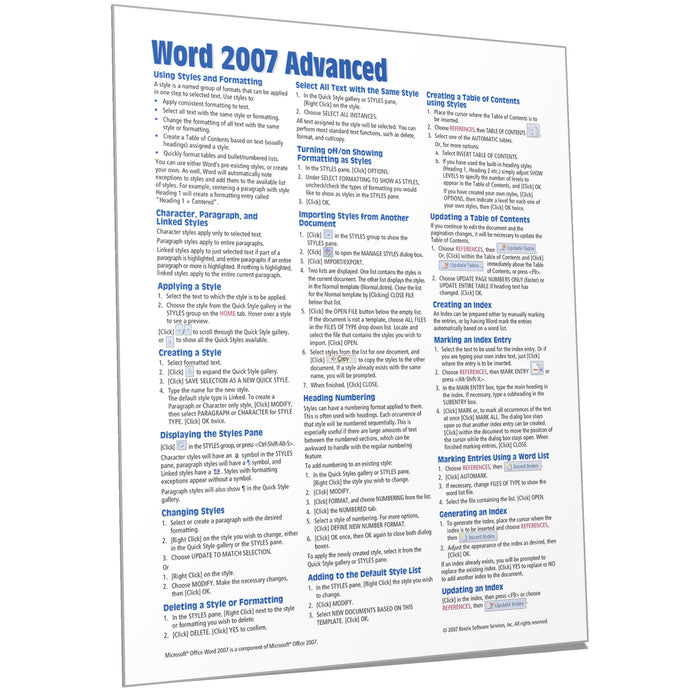 Word 2007 Advanced Quick Reference