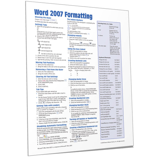 Word 2007 Formatting Quick Reference