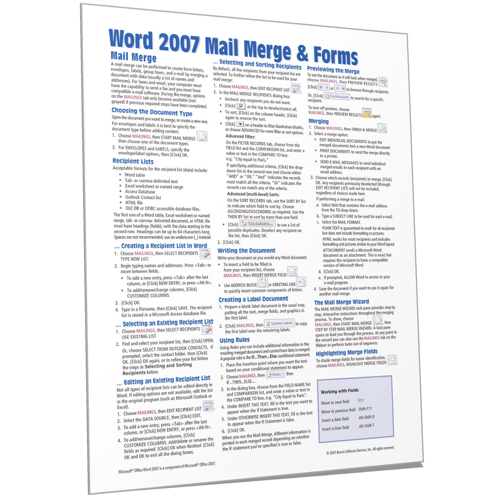 Word 2007 Mail Merge & Forms Quick Reference