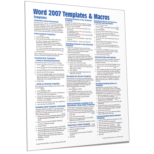 Word 2007 Templates & Macros Quick Reference