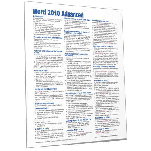 Word 2010 Advanced Quick Reference
