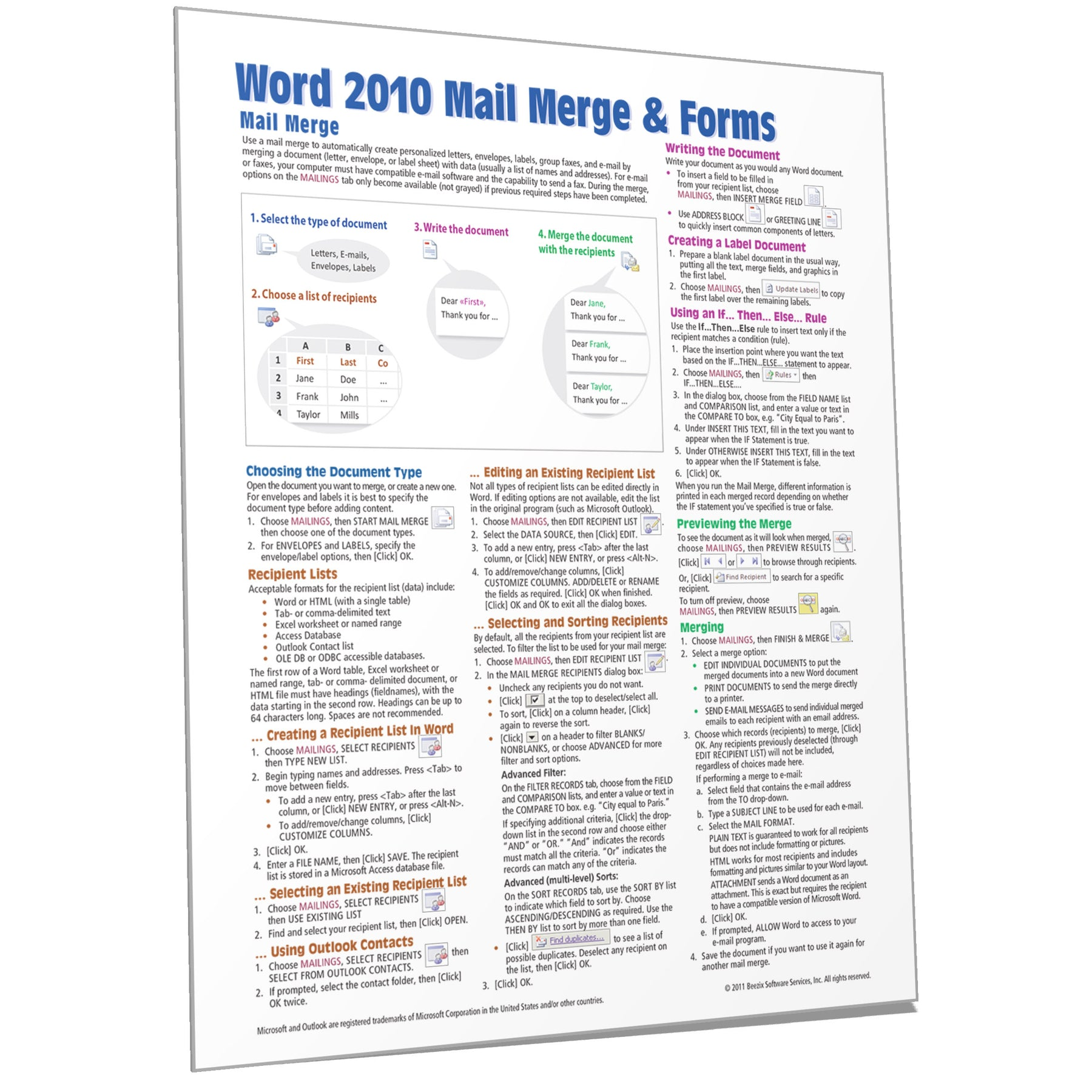 microsoft word 2010 mail merge quick reference guide card beezix