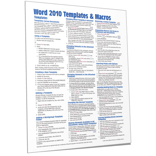 Word 2010 Templates & Macros Quick Reference