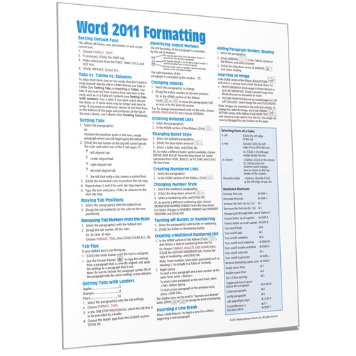 Word 2011 for Mac Formatting Quick Reference