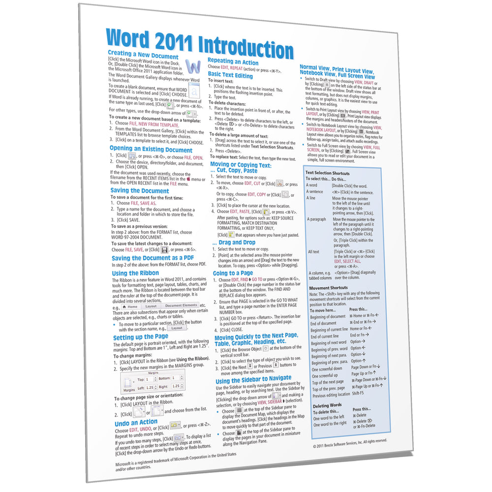 Word 2011 for Mac Introduction Quick Reference