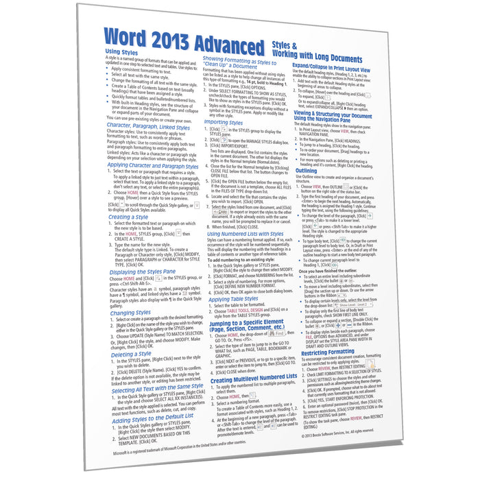 Word 2013 Advanced Quick Reference