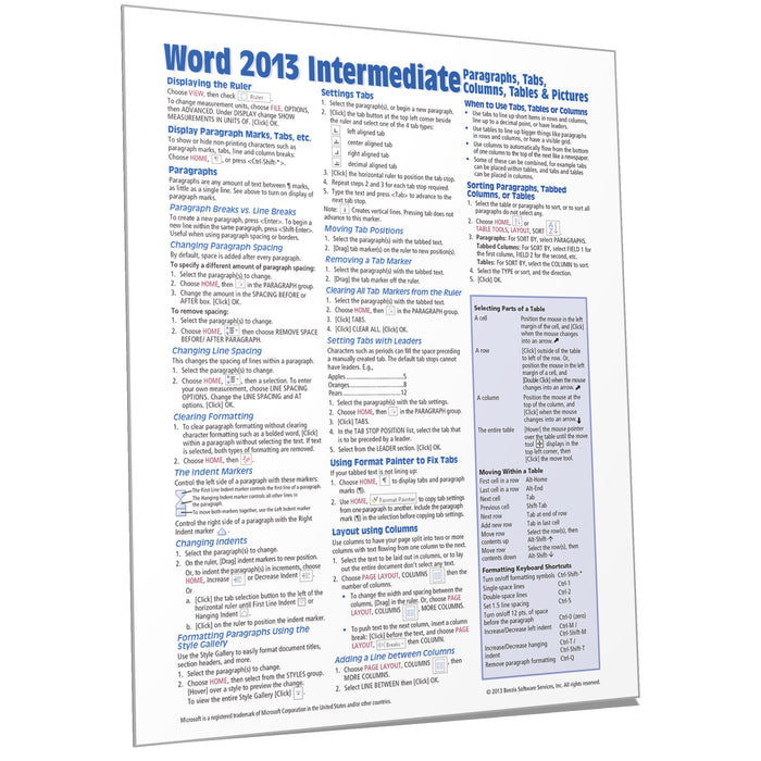 Word 2013 Intermediate Quick Reference