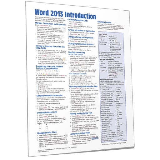 Word 2013 Introduction Quick Reference