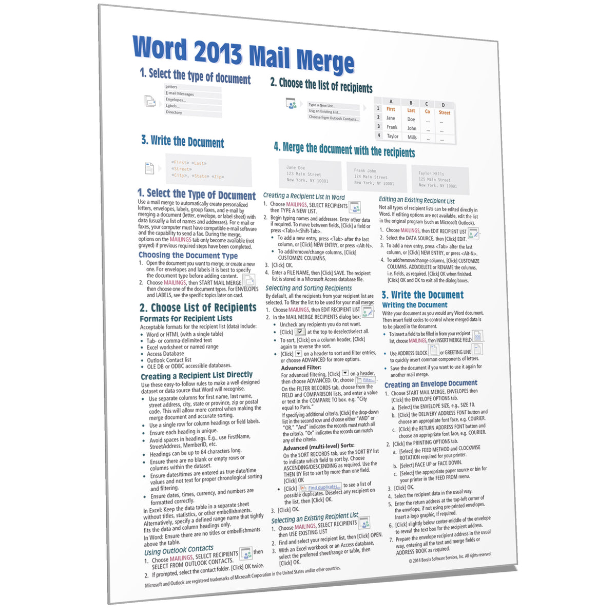Microsoft Word 2013 Mail Merge Guide, Cheat Sheet Card