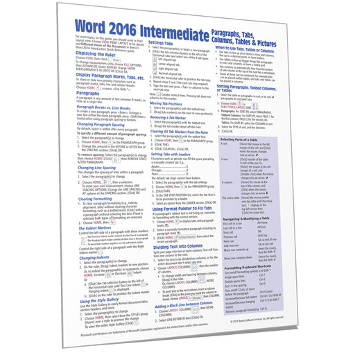 Word 2016 Intermediate Quick Reference