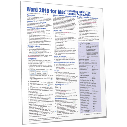 Word 2016 for Mac Formatting Quick Reference