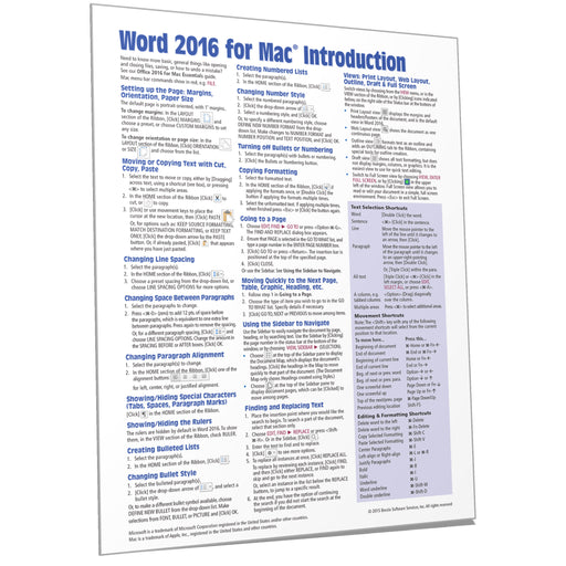 Word 2016 for Mac Introduction Quick Reference