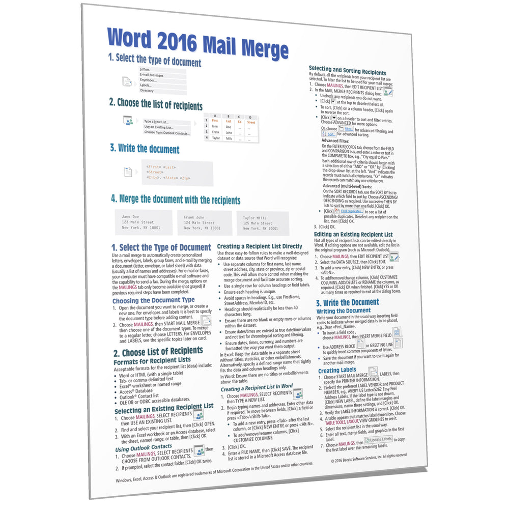 Word 2016 Mail Merge Quick Reference