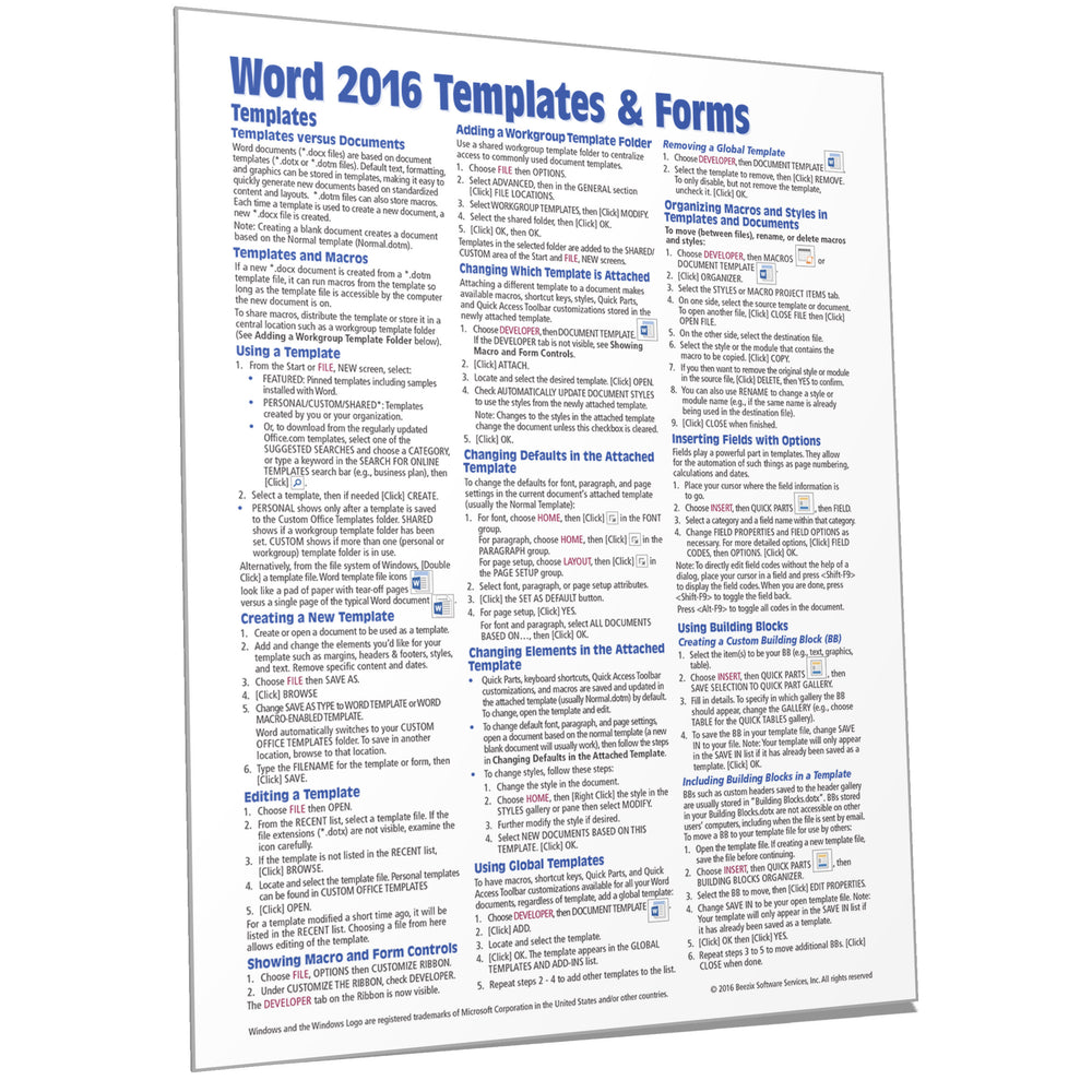 Word 2016 Templates & Forms Quick Reference
