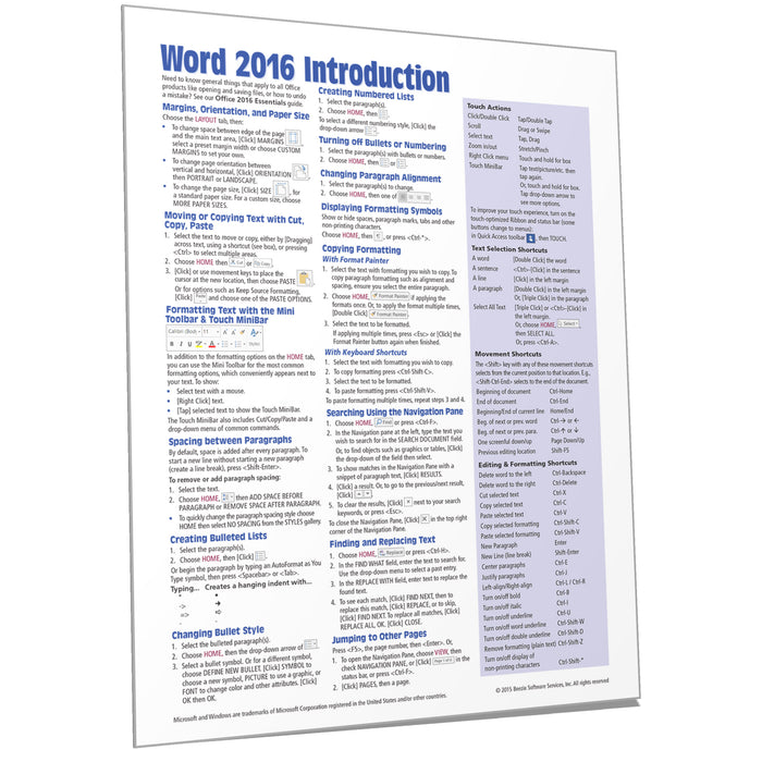 Word 2016 Introduction Quick Reference