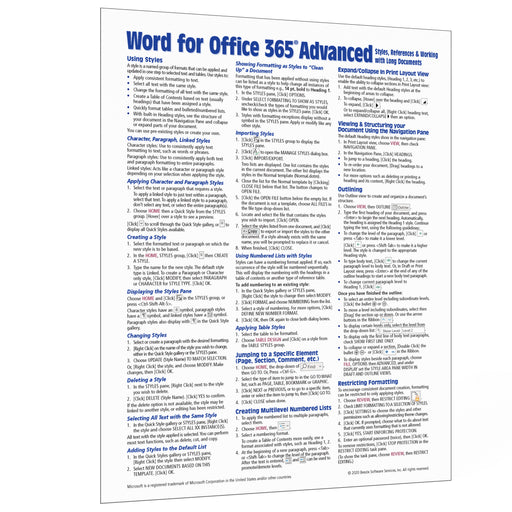 Word for Office 365 Advanced Quick Reference