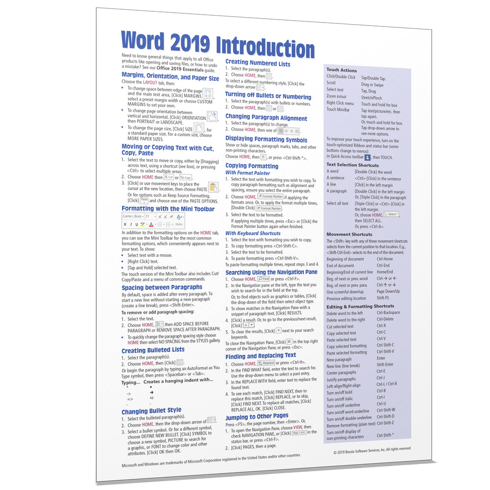 Word 2019 Introduction Quick Reference