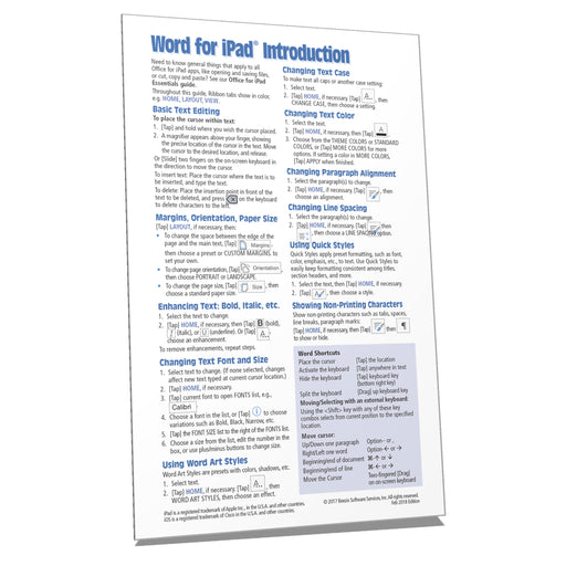 Word for iPad Introduction Quick Reference (2018)