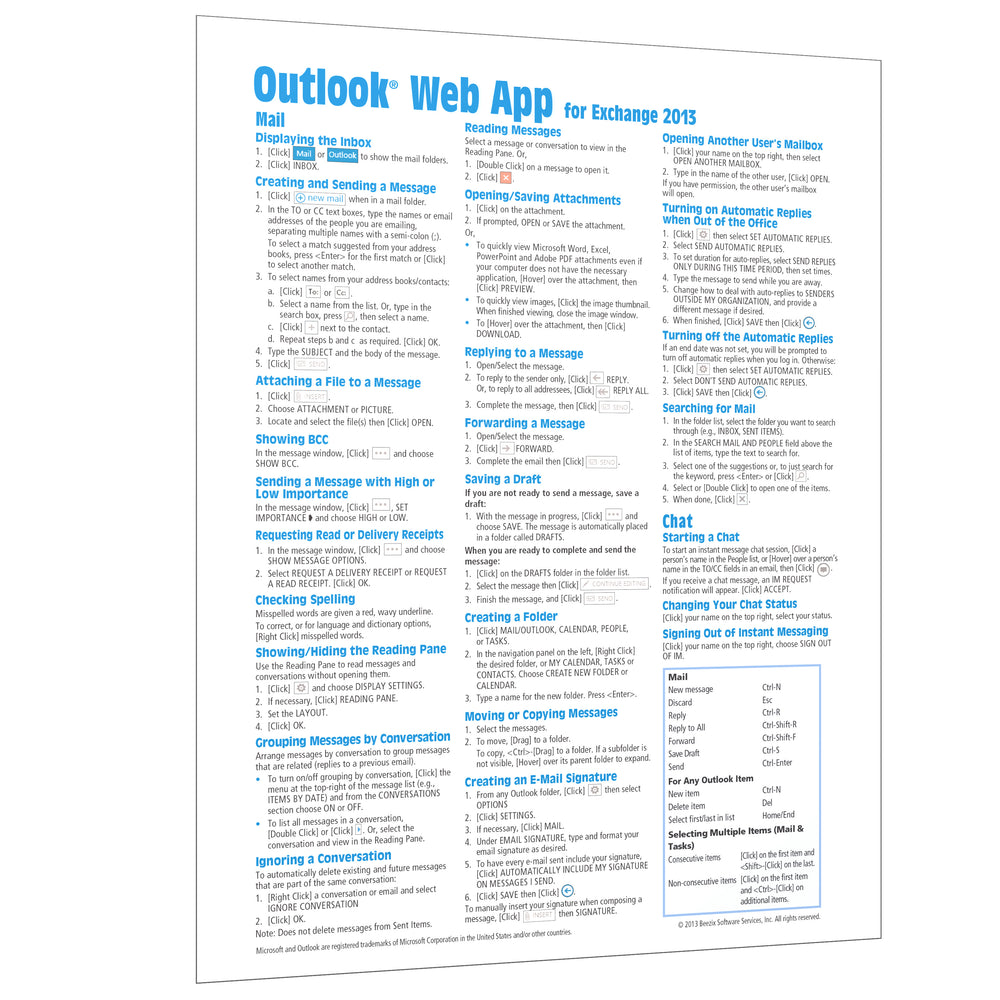 Outlook Web App for Exchange 2013 Quick Reference