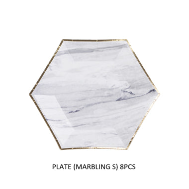 Pink and Marble Disposable Tableware