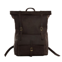 Load image into Gallery viewer, Roll Top Leather Backpack