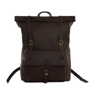 Roll Top Leather Backpack