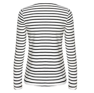 Women Stripe Long Sleeve Casual Tops T-Shirt Blouse