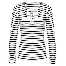 Load image into Gallery viewer, Women Stripe Long Sleeve Casual Tops T-Shirt Blouse