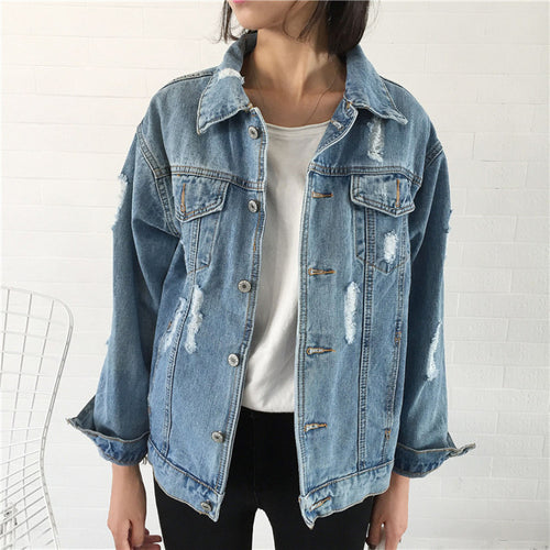 Women's oversized distressed denim jacket