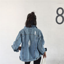 Load image into Gallery viewer, Women's oversized distressed denim jacket