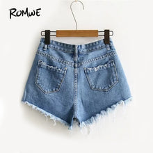 Load image into Gallery viewer, Ripped Hem Denim Women's Shorts