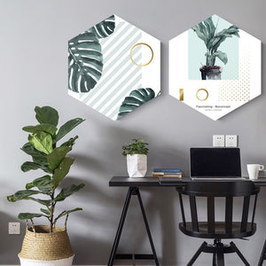 Framed Hexagon Plant Art