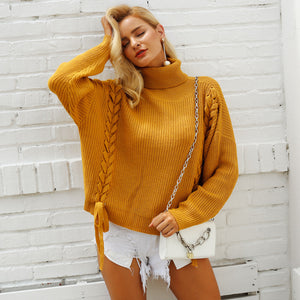 Women's Loose Knit Braid Sweater Onesize