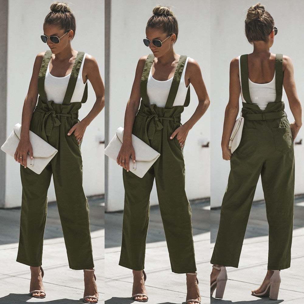 Women High Waist Dungarees Loose Cotton Pockets Belt Zip Rompers Pants Trousers