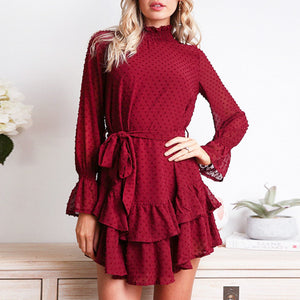 Women's Ruffled Polka Dot Dress
