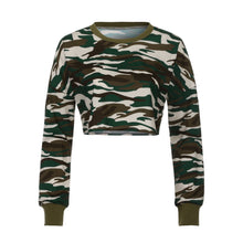 Load image into Gallery viewer, Women's Long Sleeve Camo Crop Top