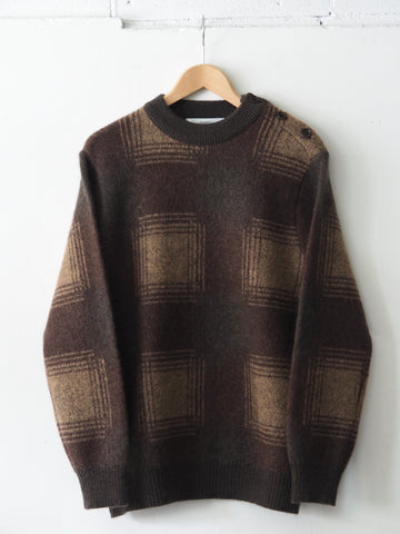 FUJITO - Country Sweater in Big Check - Brown