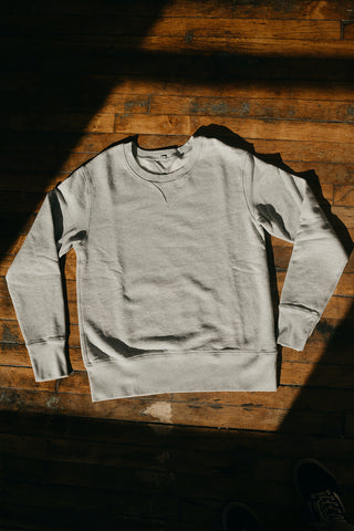 WYTHE NEW YORK - Cotton Crewneck Sweatshirt in Heather Gray