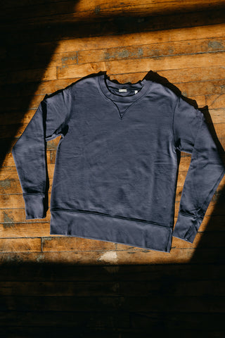 WYTHE NEW YORK - Cotton Crewneck Sweatshirt in Faded Navy