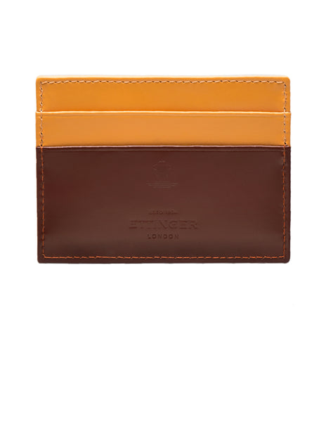 ETTINGER - Bridle Hide Flat Credit Card Case in Havana