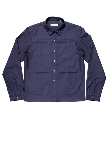 BROOKLYN TAILORS - BKT15 Shirt Jacket Shirt in Cotton / Wool Crepe - Ink