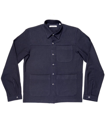 FINAL SALE - BROOKLYN TAILORS - BKT15 Shirt Jacket in Crinkled Wool / Cotton - Navy