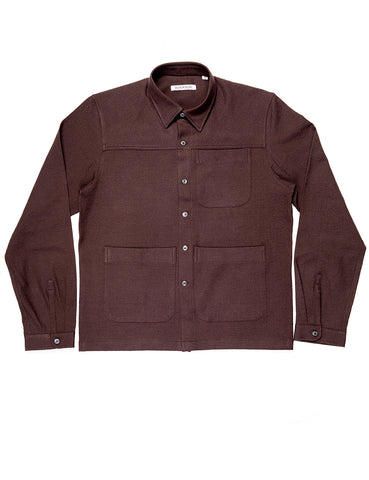 BROOKLYN TAILORS - BKT15 Shirt Jacket in Crinkled Wool / Cotton - Zinfandel