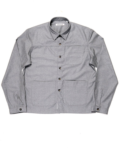FINAL SALE: BROOKLYN TAILORS - BKT15 Shirt Jacket in Wool Flannel - Dusky Gray