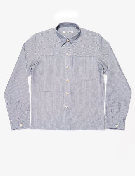 BROOKLYN TAILORS - BKT15 Shirt Jacket in Hickory Stripe - Blue and Ivory