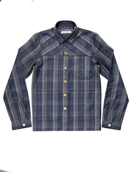 BROOKLYN TAILORS - BKT15 Shirt Jacket in Wool Plaid - Navy and Charcoal