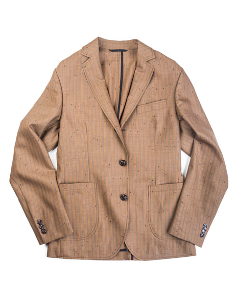 BROOKLYN TAILORS - BKT35 Unstructured Jacket in Vintage Copper Flecked Stripes