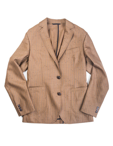 FINAL SALE: BROOKLYN TAILORS - BKT35 Unstructured Jacket in Vintage Copper Flecked Stripes