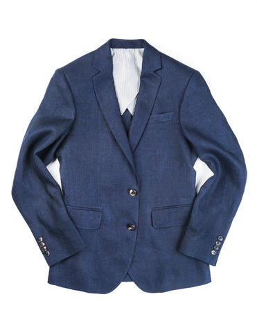 BROOKLYN TAILORS -  BKT50 Jacket in Navy Linen Twill