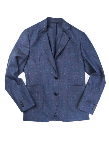 BROOKLYN TAILORS - BKT35 Unstructured Jacket in Vintage Blue with Red Check